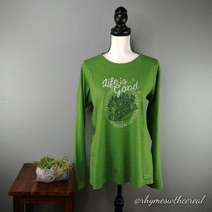 Life is Good | green women's long sleeve tee